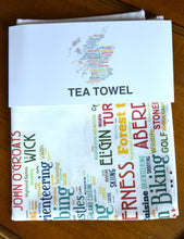 Load image into Gallery viewer, Map with SCOTTISH TOWNS TEA TOWEL