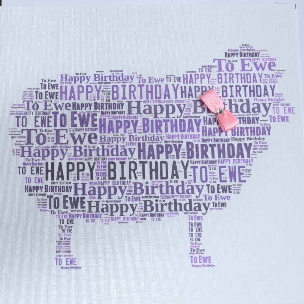 HAPPY BIRTHDAY TO EWE WITH PINK BOW  order code 370P