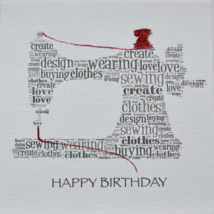 SEWING MACHINE with sparkle HAPPY BIRTHDAY  -  order code 295