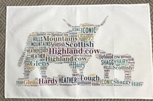Highland Cow and calf tea towel