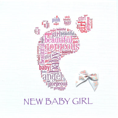 BABY GIRL FOOTPRINT with ribbon bow  -  order code 240