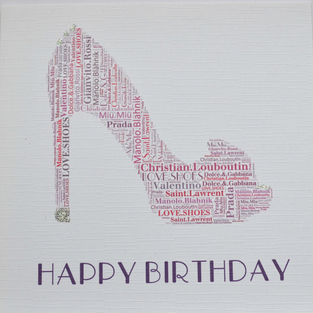 PINK SHOE - HAPPY BIRTHDAY with sparkle  -   order code 248