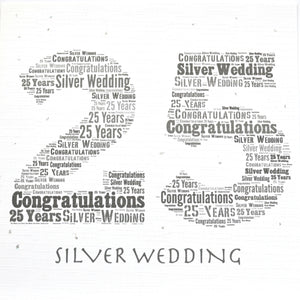 SILVER WEDDING ANNIVERSARY with sparkle (Code 353)