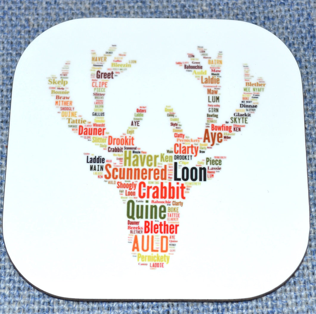 Stag head with Scottish words