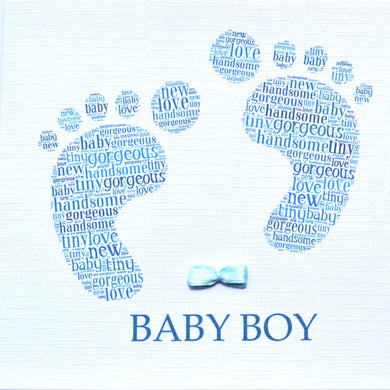 BABY BOY FOOTPRINT with ribbon bow  -  order code 235