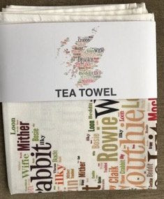 MAP OF SCOTLAND WITH DORIC WORDS TEA TOWEL