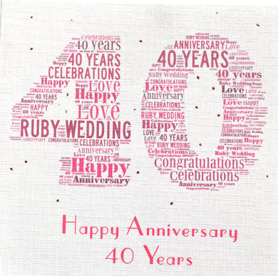 40th RUBY WEDDING  order code 372