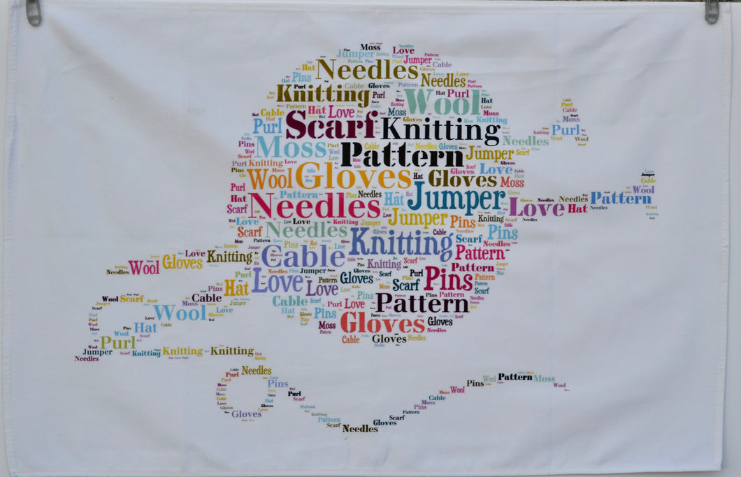 Knitting tea towel