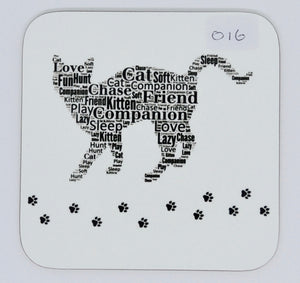 Coaster - Cat with paw prints (order code CO16)