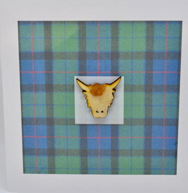 Highland cow head on Tartan backgound - (order code 610)