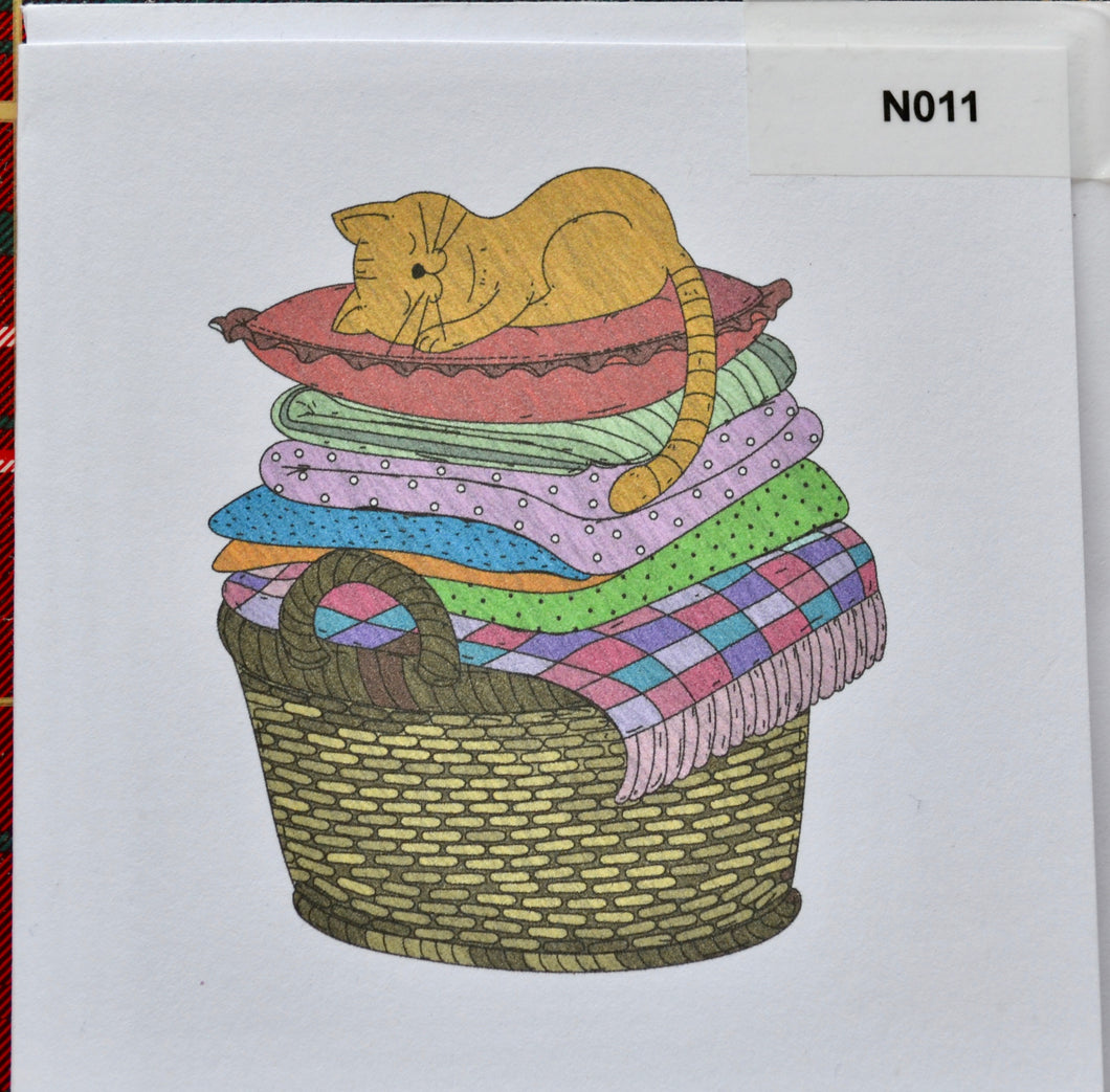 Notelet - Cat on washing - order code N11