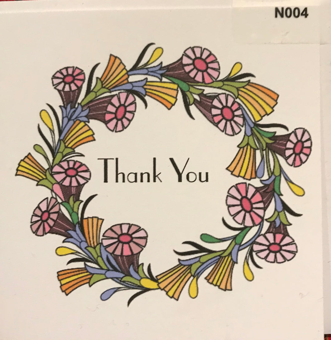 NOTELET - Thank you floral wreath  order code N004