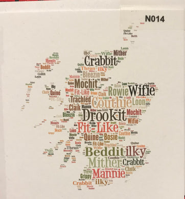 NOTELETS - Map of Scotland with doric words.  order code N014
