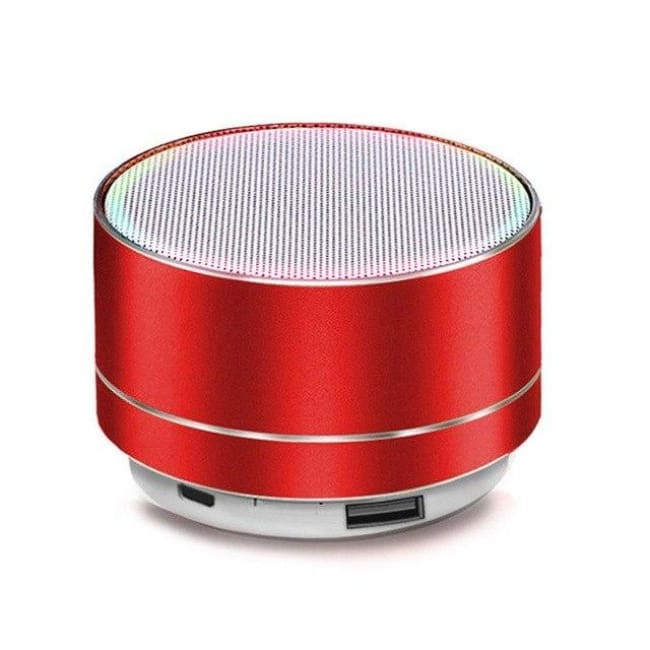 Portable Wireless Led Bluetooth Speaker Stereo With Built Mic Mp3 Mini Subwoof Smart Column Loudspeaker - Red