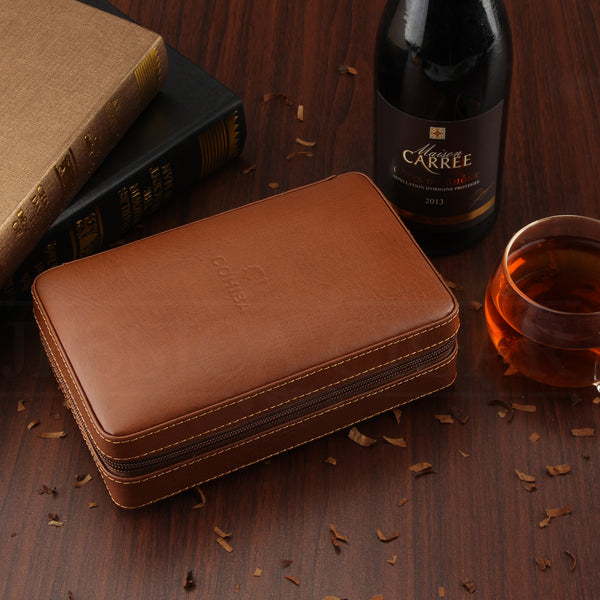 Leather Travel Cigar Humidor With Lighter and Cutter