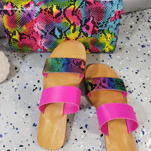 Load image into Gallery viewer, Angela~Rainbow Snake Skin Slides