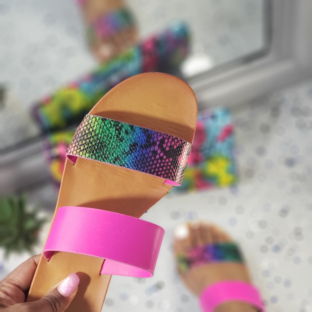Angela~Rainbow Snake Skin Slides
