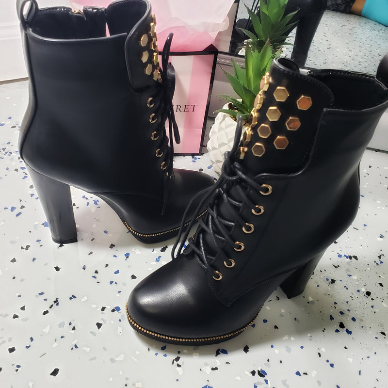 Tasha~ Black & Gold Bootie