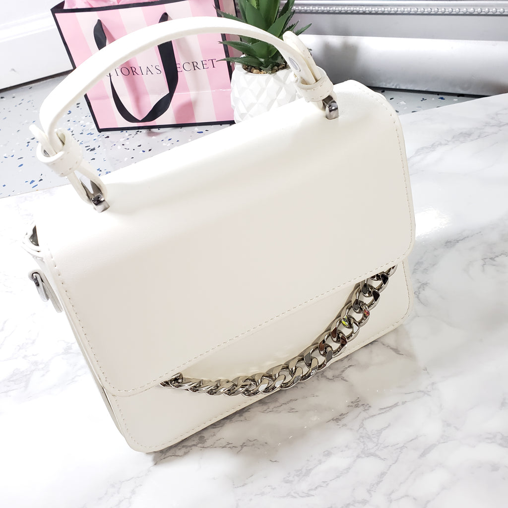 Maya~Mini White & Silver Clutch
