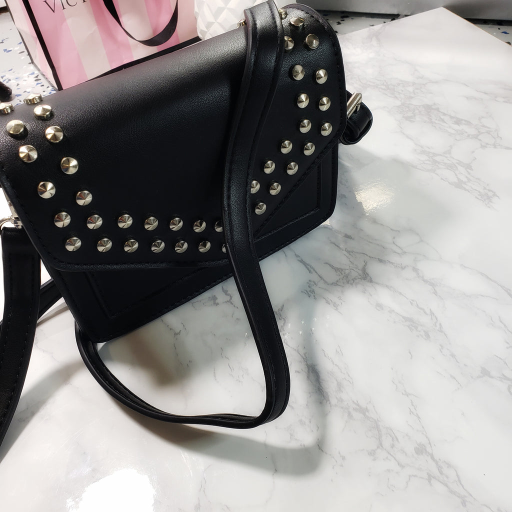 Becca~ Black mini studded envelope clutch