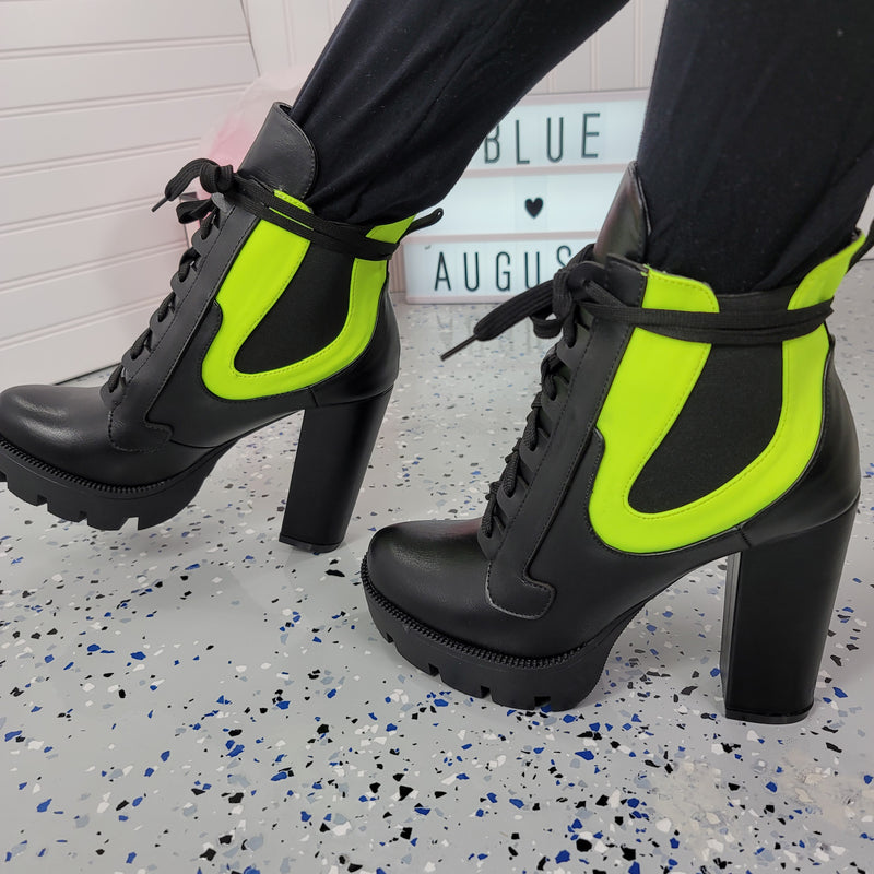 Gunship~Black & Green Bootie