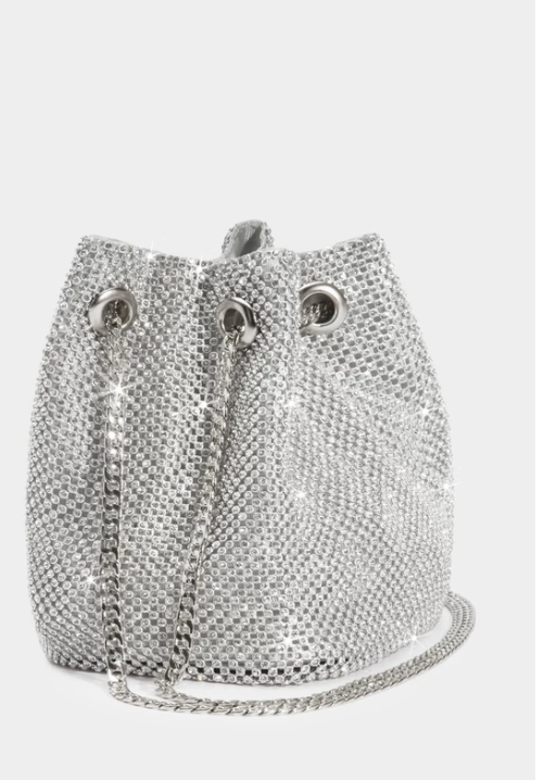 Linda: Silver Rhinestone Mini Bucket Bag