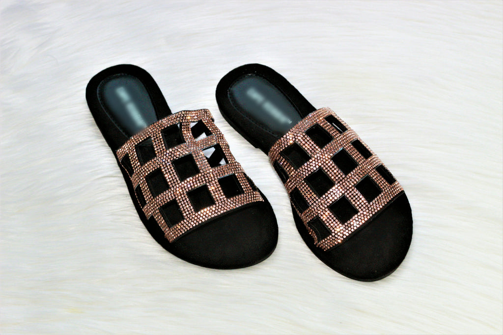 Milana~Black & Rose Gold Sandal