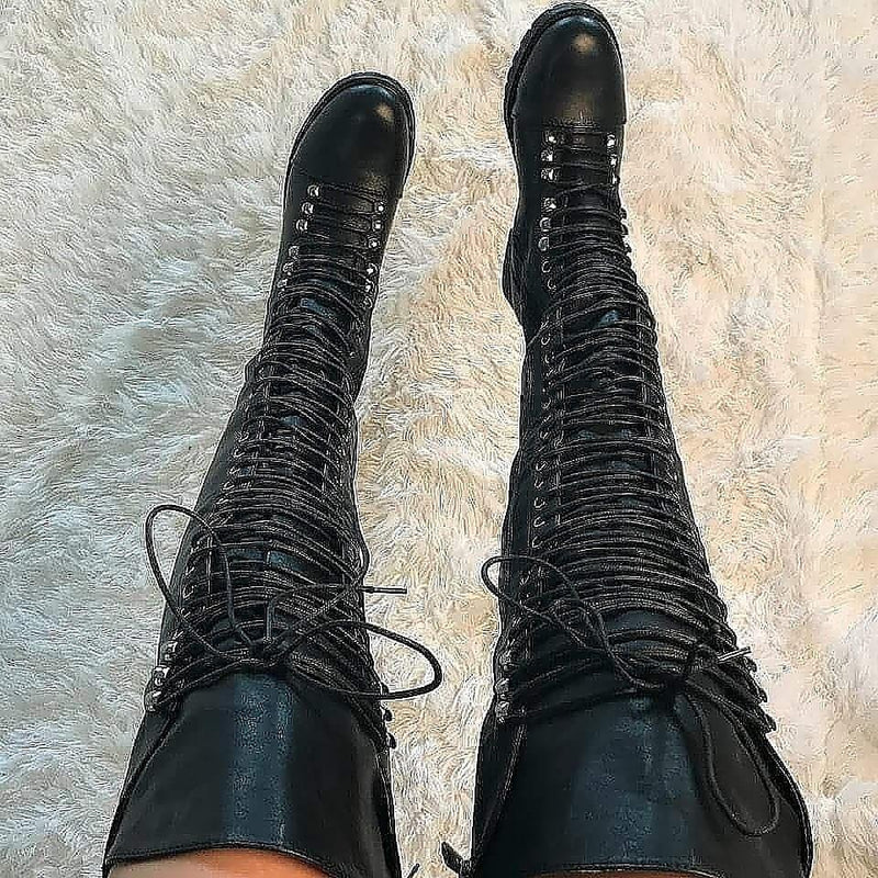 Travis~Extreme Thigh High Black Boot