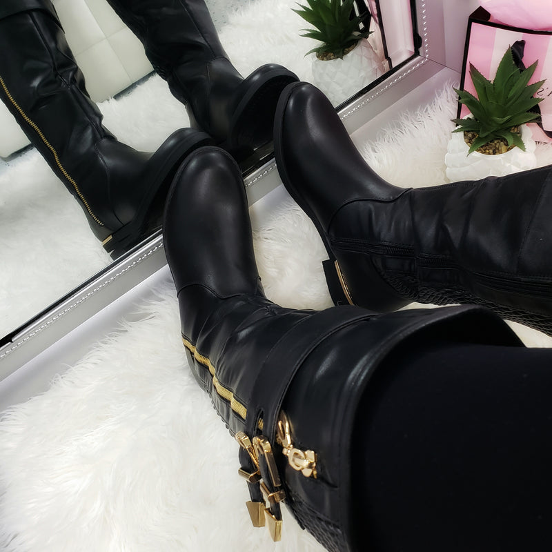 Ginger~Black & Gold Riding Boots