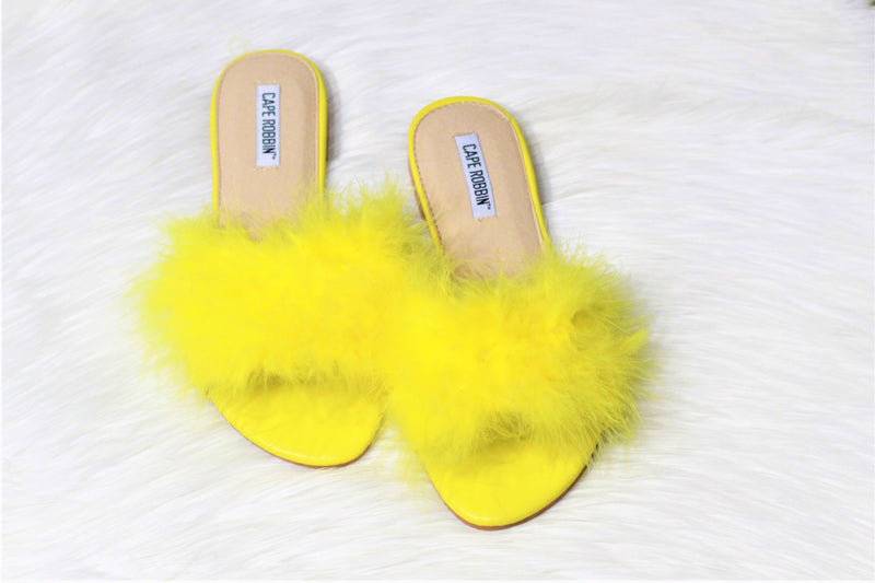Lady~Yellow Feather Slide Sandal