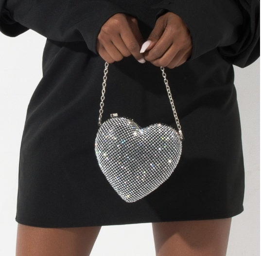 Heart Rhinestone Mini Clutch