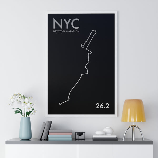 Custom Location Marathon Map Print. Framed. Minimal Style