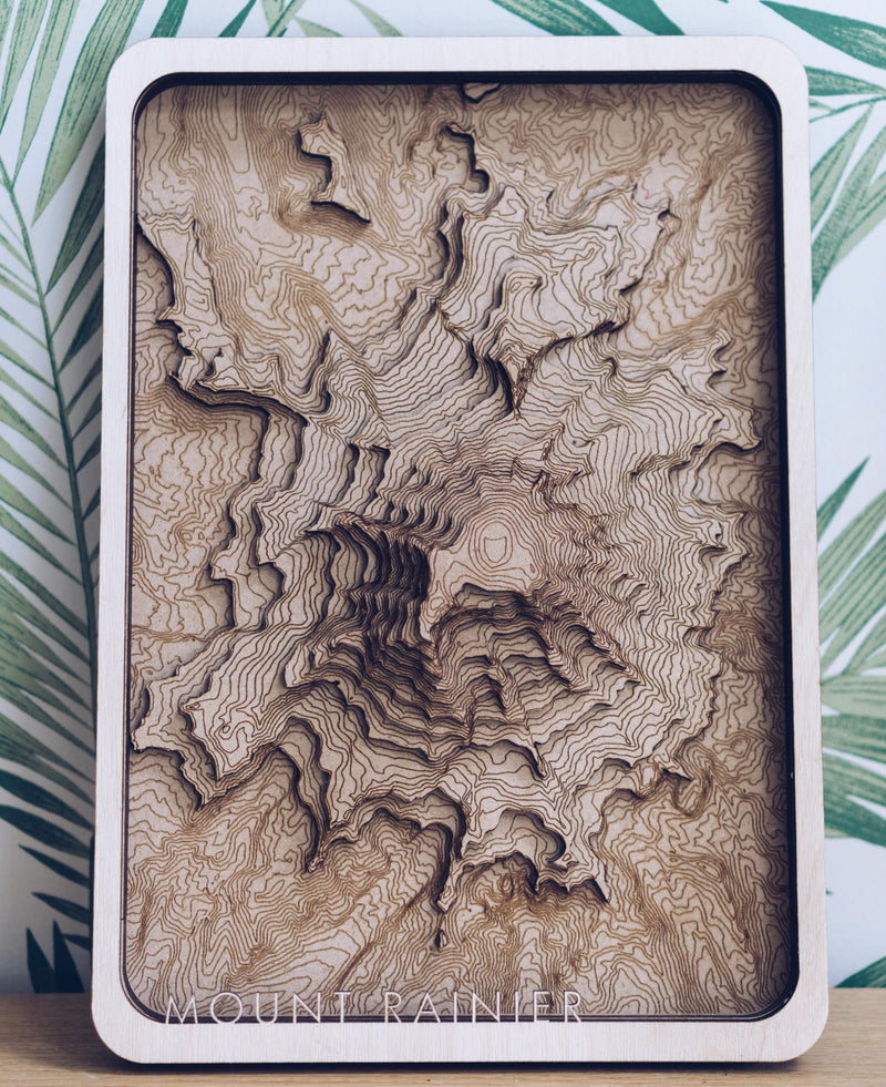Mount Rainier Wood Map