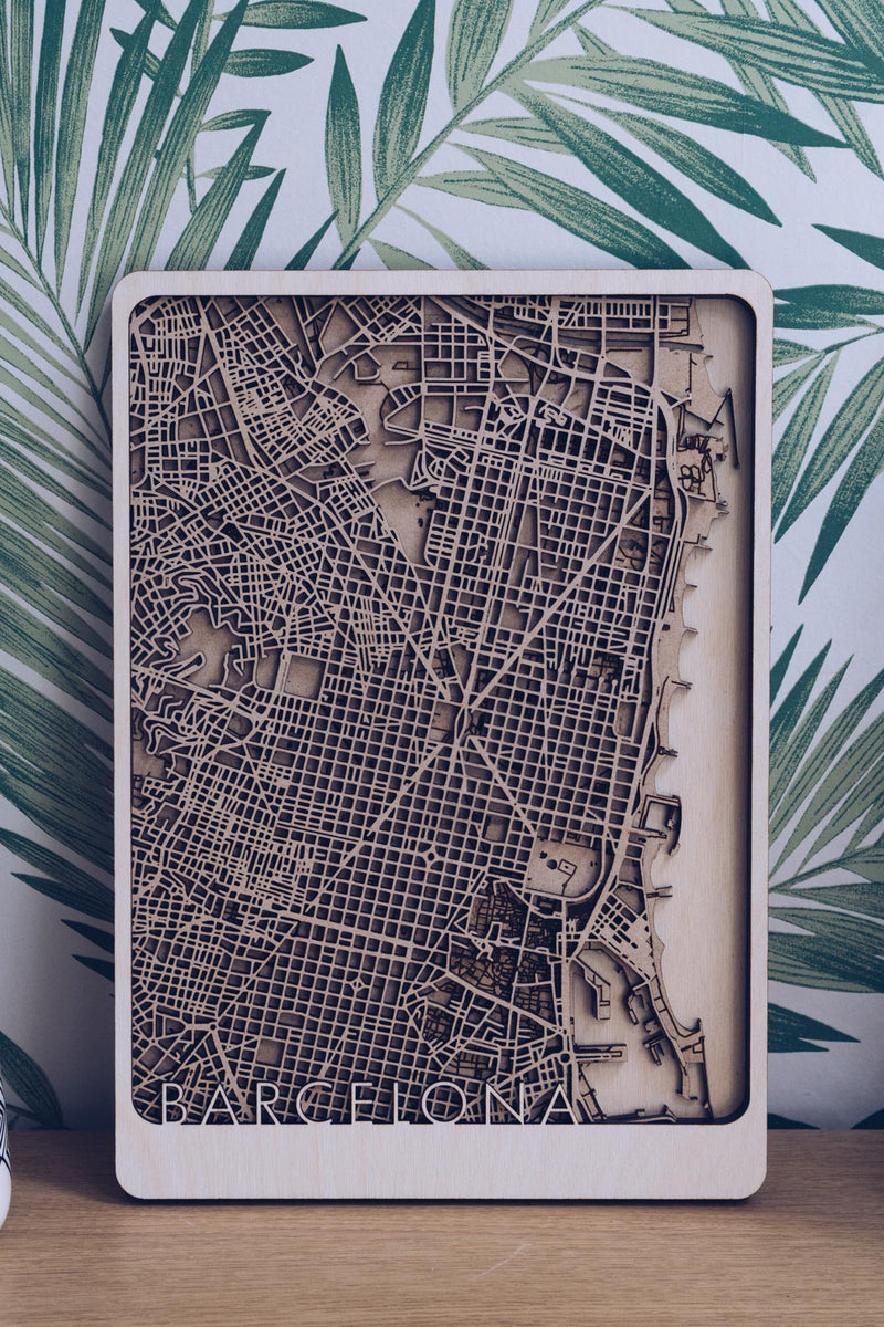 Barcelona Wood Map