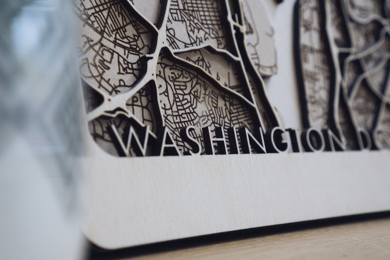 washington DC wood map