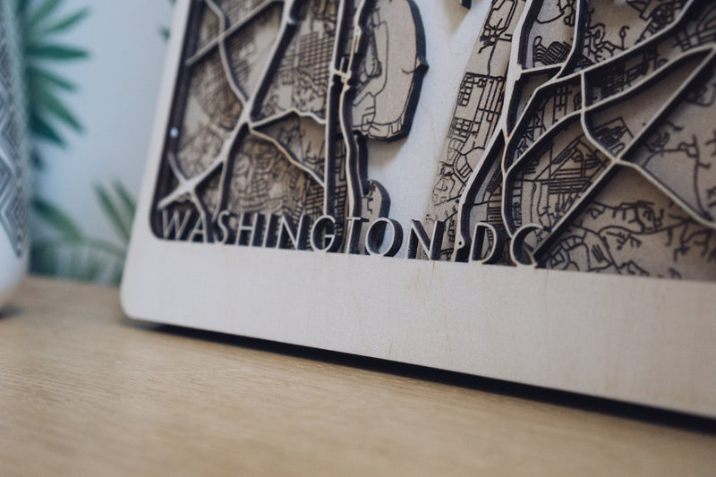 washington dc laser cut map