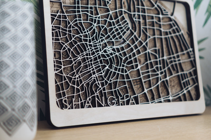 shanghai laser cut map
