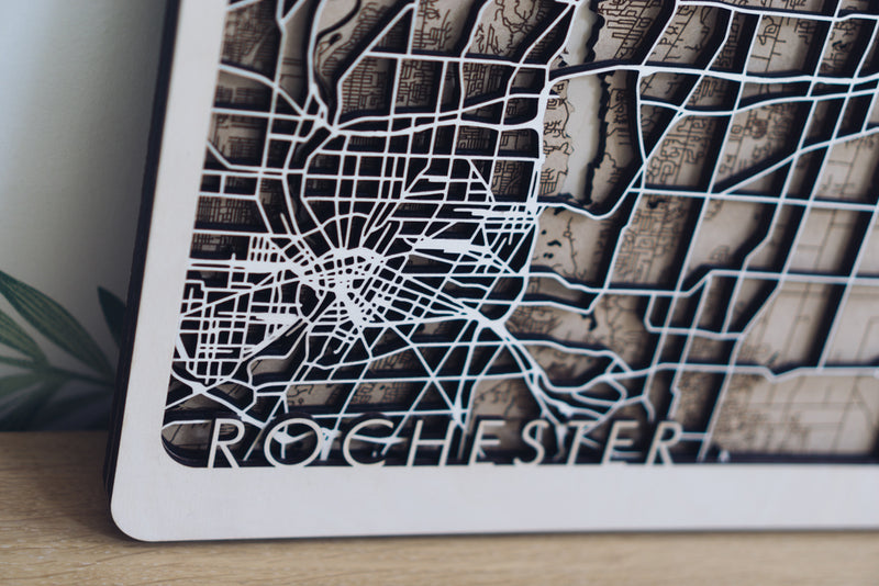 Rochester laser cut Map