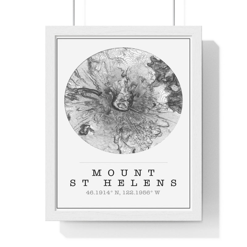 Mt St Helens Topographic Map Print. Framed. Classic Style