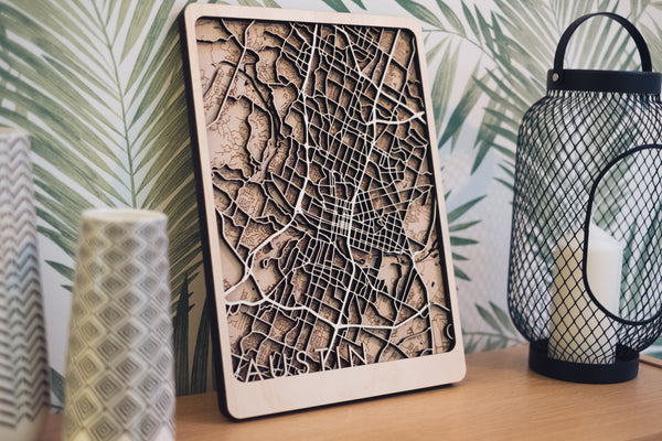 austin laser cut wood maps
