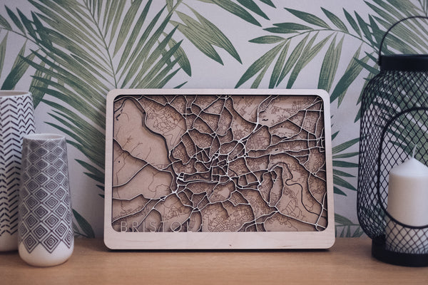 Bristol Laser Cut Wood Map