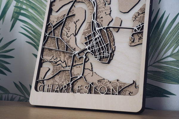 Charleston Laser Cut Wood Map
