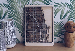 Chicago Wood Map Wall Art