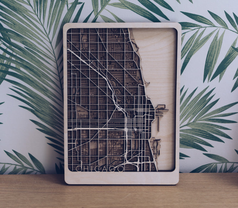 Chicago Laser Cut Wood Map