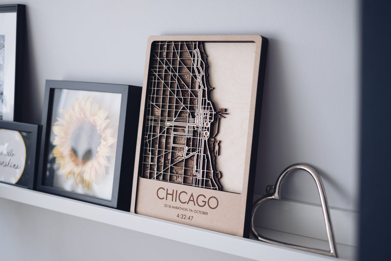 Chicago Marathon Wood Wall Art