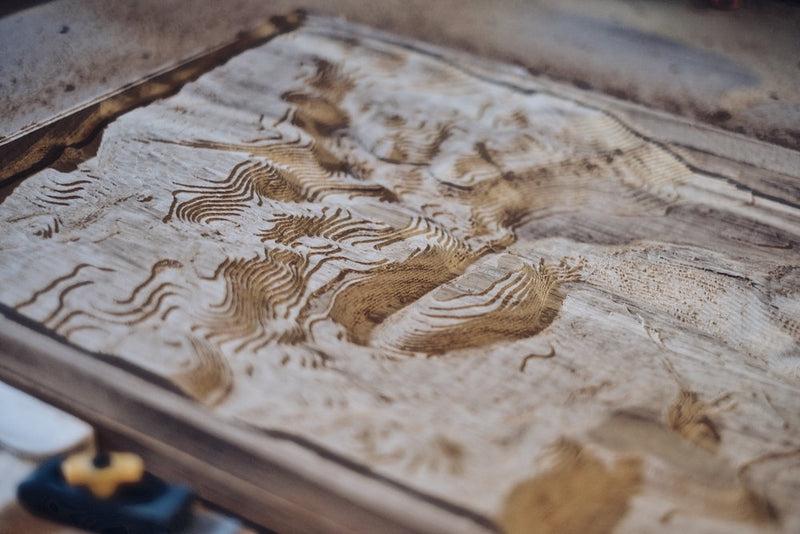 Custom Location Full Hardwood Topographic Carved Map