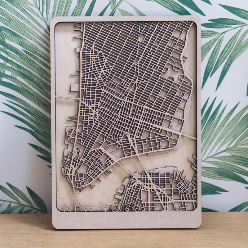 New York Laser Cut Map