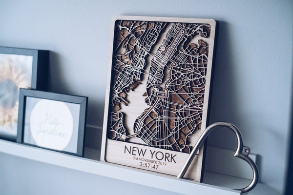 New york Marathon laser cut map