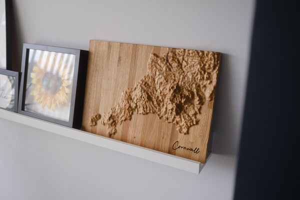 Cornwall Topographic Carved Map. Oak Hardwood.