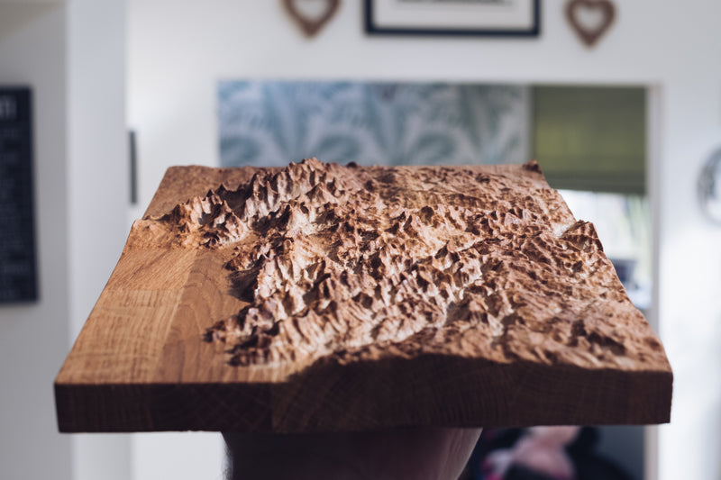 Snowdonia Full Hardwood Topographic Carved Map